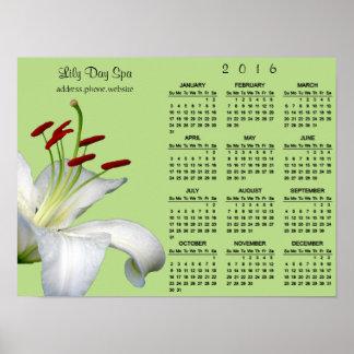 Calendario del lirio, blanco y rojo del negocio póster