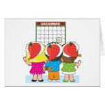 Calendario del navidad de los niños tarjetón