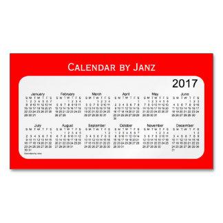 Calendario del negocio de 2017 rojos por el imán tarjetas de visita magnéticas (paquete de 25)