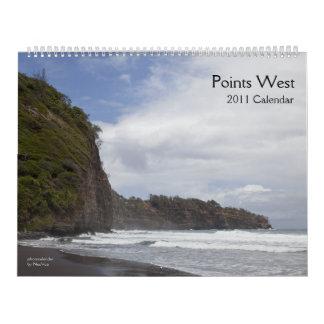 Calendario del oeste 2011 de los puntos