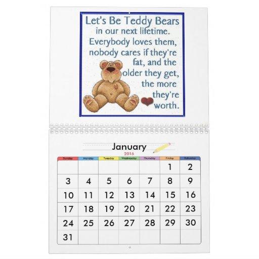 Calendario del oso de peluche