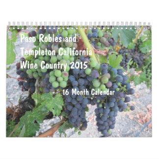 Calendario del país vinícola 16-Month de Paso Robl