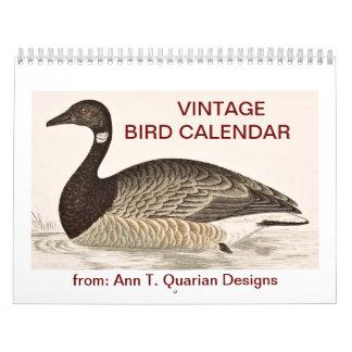 Calendario del pájaro del vintage - 2013
