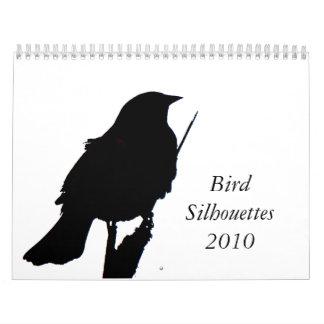 Calendario del pájaro Silhouettes2010