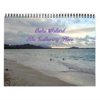 Calendario del paraíso de la isla de Oahu