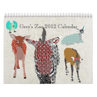 Calendario del parque zoológico 2012 del gris