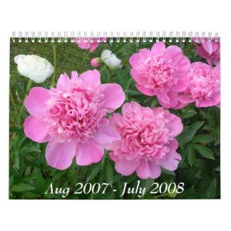 Calendario del Peony agosto de 2007-julio de 2008