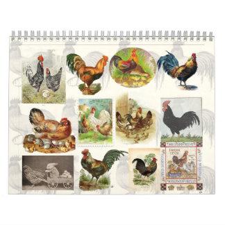 Calendario del personalizado del pollo del vintage