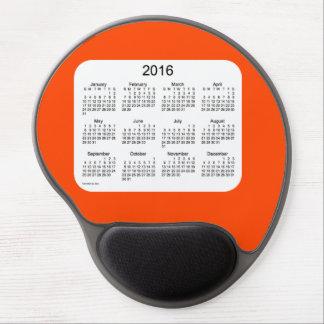 Calendario del rojo anaranjado 2016 por el gel alfombrilla gel