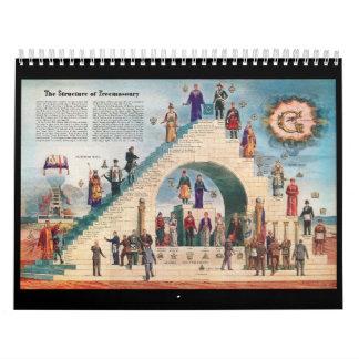 Calendario del tablero del caballete del Freemason