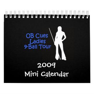 Calendario del viaje 2009 de las señoras 9-Ball de