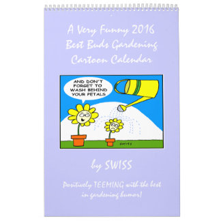 Calendario divertido del dibujo animado del jardín