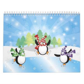 Calendario el trío del pingüino del patinaje