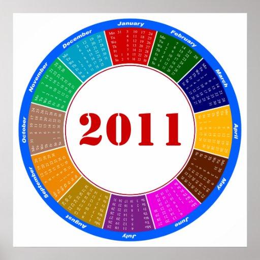 Calendario elegante de la circular 2011 posters