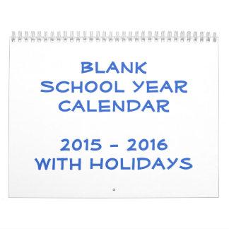 Calendario en blanco 2015 - 2016 del año escolar