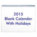 Calendario en blanco 2015 con días de fiesta y