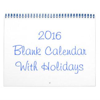 Calendario en blanco 2016 con días de fiesta