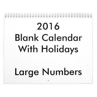 Calendario en blanco 2016 con grandes números de