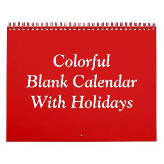 Calendario en blanco colorido con días de fiesta