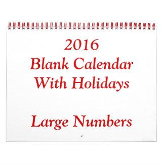 Calendario en blanco del rojo 2016 con grandes