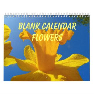 Calendario en blanco - flores