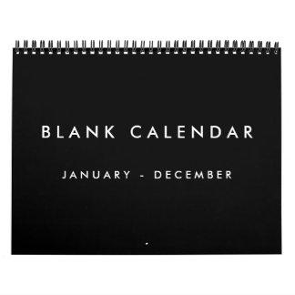 Calendario en blanco negro con días de fiesta 12