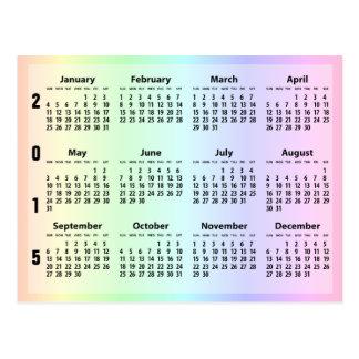 Calendario en colores pastel del promo 2015 del postal