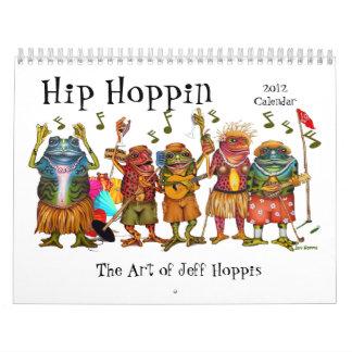 Calendario enrrollado del arte de la rana de Jeff