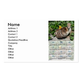 Calendario entero del año del pavo real 2011 del b tarjeta de visita