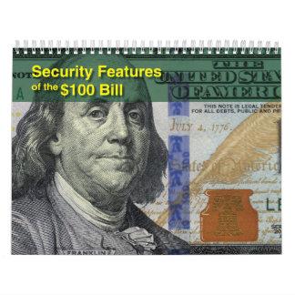 Calendario falsificado de la detección de $100