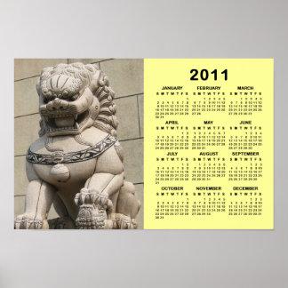 Calendario femenino chino del 石獅 2011 del león del poster