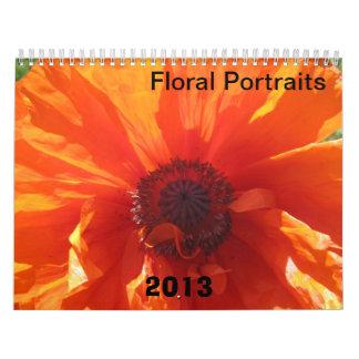 Calendario floral 2013 de los retratos