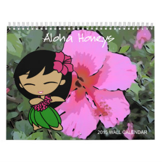 Calendario floral 2015 del chica de Hula de las