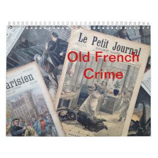 Calendario francés viejo del crimen