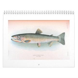 Calendario fresco y de los peces de agua salada