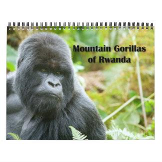 Calendario - gorilas de montaña de Rwanda