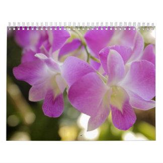 Calendario hawaiano de la flor y de la orquídea