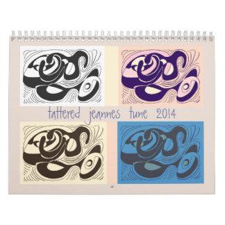 calendario hecho andrajos del tono de 2014 jeannes