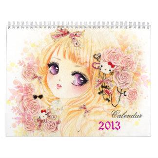 Calendario hermoso 2013 de los chicas del animado