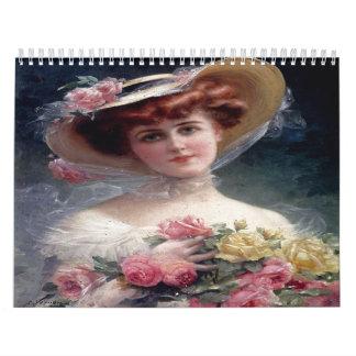Calendario hermoso de las pinturas de las señoras