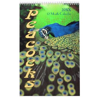 Calendario hermoso de los pavos reales 2016