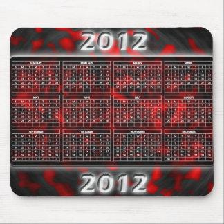Calendario hermoso rojo 2012 para Mousepad Alfombrillas De Ratones