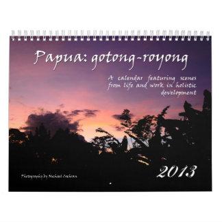 Calendario holístico 2013 del desarrollo de Papua