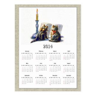 Calendario II de los gatos 2014 del vintage Postal