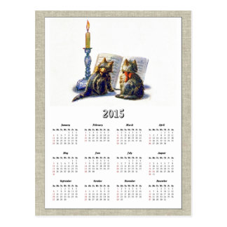 Calendario II de los gatos 2015 del vintage Postal