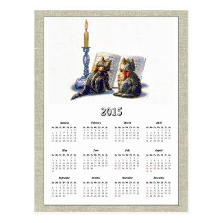 Calendario II de los gatos 2015 del vintage Tarjeta Postal