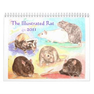 Calendario ilustrado 2011 del retrato de la rata