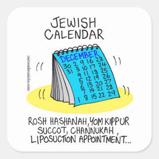 Calendario judío el comer excesivamente pegatina cuadrada