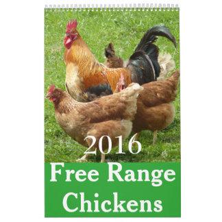 Calendario libre de los pollos 2016 de la gama