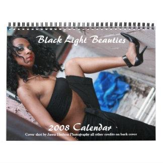 Calendario ligero negro de las bellezas